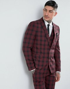 Read more about Harry brown skinny tartan suit jacket - red