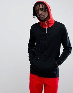 Read more about Asos design longline hoodie in black with contrast hood and half zip - black crimson