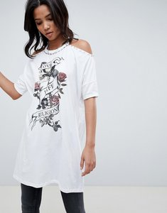 Read more about Religion cold shoulder dress with floral detail - white