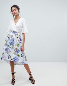 Read more about Oasis floral bloom print dip hem midi skirt - multi floral print