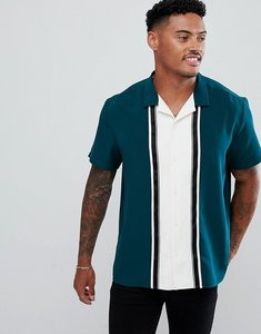 Read more about Asos design oversized cut sew shirt in green with taping - green