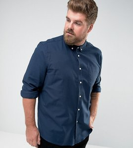 Read more about Asos plus regular fit oxford shirt - navy
