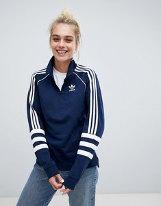 Read more about Adidas originals authentic three stripe rugby top in navy - yellow