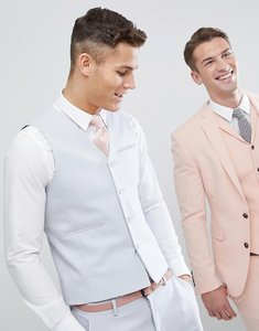 Read more about Asos wedding skinny suit waistcoat in ice grey - light grey