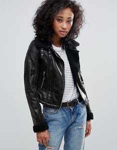 Read more about Urban bliss biker jacket with borg collar - black