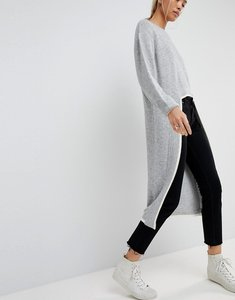 Read more about Asos white extreme dipped hem knitted jumper - grey marl