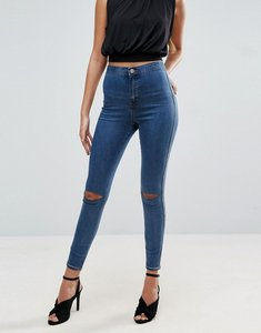 Read more about Asos rivington high waist denim jeggings in judith mid wash with rips - mid wash blue