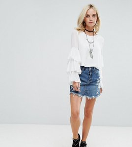 Read more about Glamorous petite denim mini skirt with embroidery - mid blue