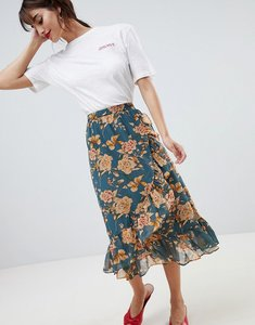 Read more about Vila floral midi skirt with ruffle hem - grisaille