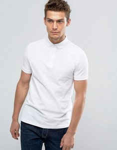 Read more about Asos polo shirt in white pique with button down collar - white