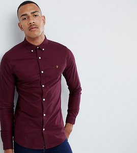 Read more about Farah sanfers skinny fit buttondown oxford shirt in burgundy - red