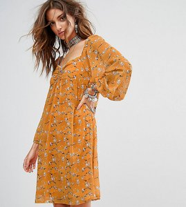 Read more about Sacred hawk festival smock mini dress in romantic floral - yellow