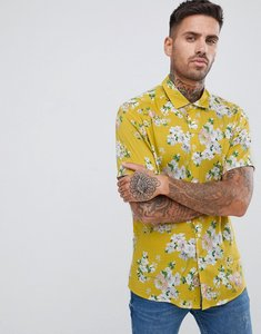 Read more about Asos design regular fit floral shirt in mustard - yellow