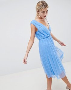 Read more about Asos design pleated tulle midi prom dress with lace bodice - pastel blue