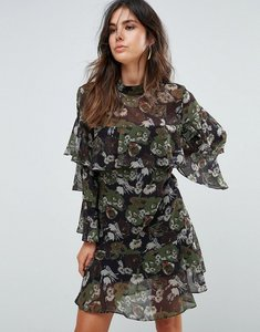 Read more about Liquorish floral print tiered dress - black olive