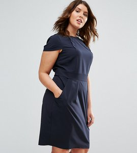 Read more about Closet plus cap sleeve midi pencil dress with tie back - navy