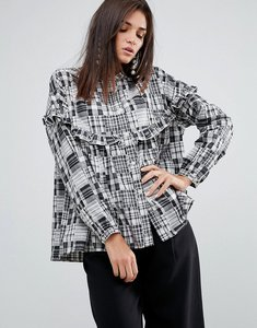 Read more about Ymc patchwork ruffle shirt - black white