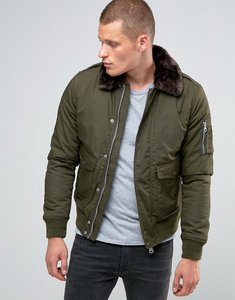 Read more about Schott air bomber jacket faux fur collar - khaki