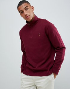 Read more about Polo ralph lauren half zip cotton knit jumper with multi player logo in burgundy - classic wine