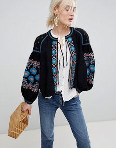Read more about Free people embroidered balloon sleeve jacket - black
