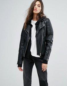Read more about Goosecraft rib detail leather biker jacket - black