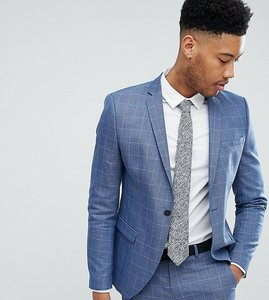 Read more about Selected homme skinny fit suit jacket in navy grid check - light blue check