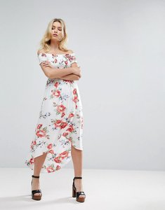 Read more about Parisian off shoulder floral maxi dress with shorts - white red