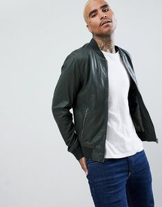 Read more about Goosecraft leather bomber jacket in forest green - dark green