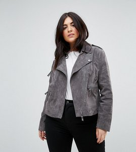 Read more about Asos curve suede biker jacket - grey