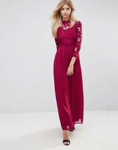 Read more about Club l 3 4 sleeve high neck crochet detailed maxi chiffon dress - deep berry