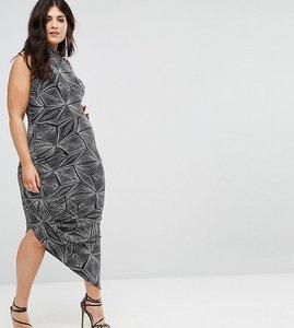 Read more about Club l plus high neck drape dress in all over glitter - black silver