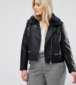 Read more about Lost ink plus leather look jacket with faux fur collar - black