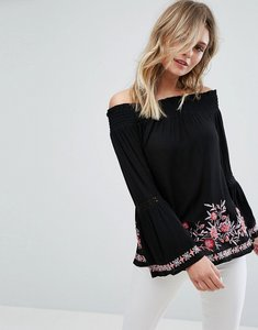 Read more about Miss selfridge embroidered bardot top - black