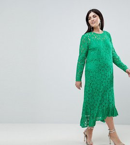Read more about Asos design curve lace midi swing dress - green