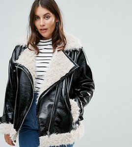 Read more about Asos curve cracked vinyl biker jacket with curly borg liner - black
