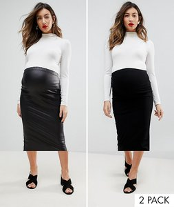 Read more about Asos maternity over the bump longer line midi skirt and leather look skirt 2 pack - black