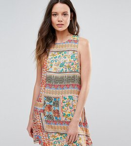 Read more about Glamorous tall sleeveless patchwork tile printed shift dress - multi
