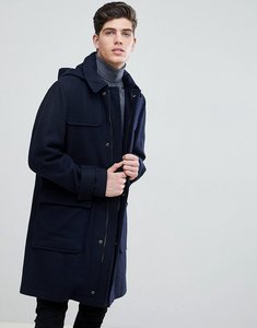Read more about Mango man hooded wool blend coat in navy - navy
