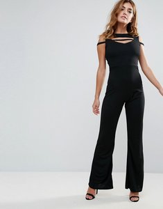 Read more about Club l band cross front jumpsuit - black
