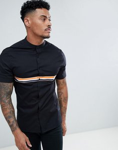 Read more about Asos design skinny granddad collar shirt with taping in black - black