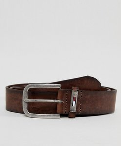 Read more about Tommy hilfiger wide worn leather flag loop belt in brown - testa di moro