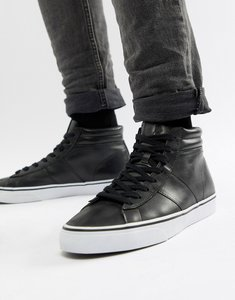 Read more about Polo ralph lauren shaw leather high top trainers in black - black