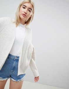 Read more about Asos design eco cardigan in fluffy yarn - oatmeal