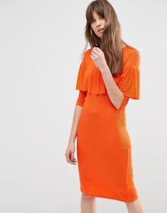 Read more about Asos rib ruffle detail column dress - orange
