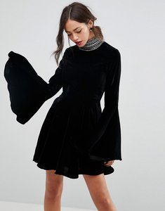 Read more about Asos velvet skater with embellished high neck mini dress - black