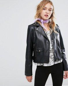 Read more about Monki faux leather biker jacket - black