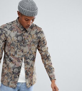 Read more about Reclaimed vintage inspired dogstooth shirt with print - brown