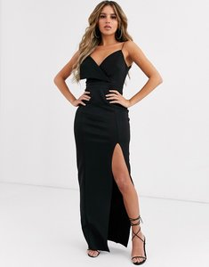 Read more about Asos design fold front scuba maxi dress with thigh split