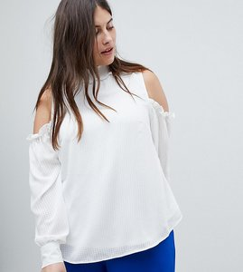 Read more about Fashion union plus cold shoulder blouse with high neck and balloon sleeves - ivory