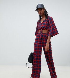 Read more about Noisy may tall check wide leg trousers
